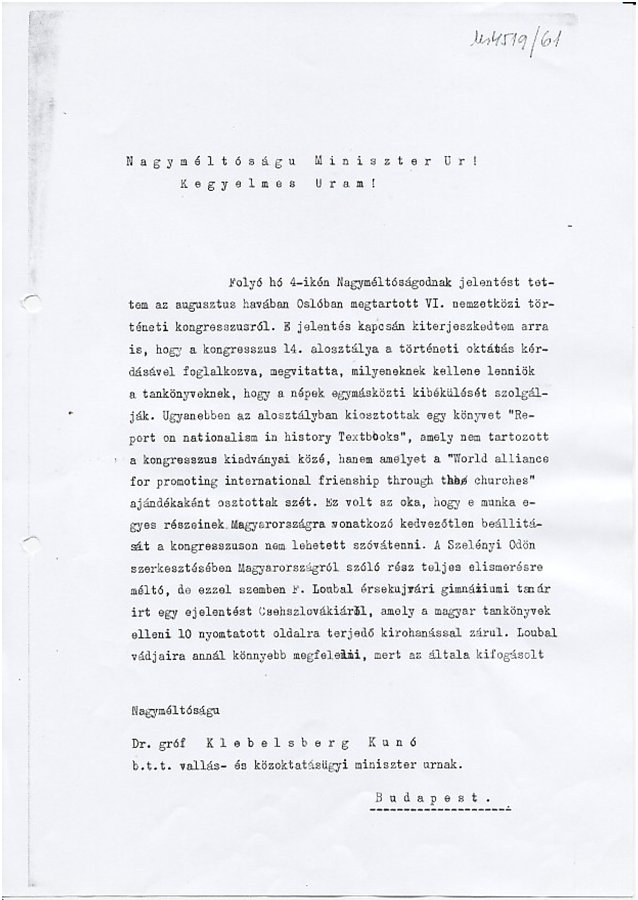 Domanovszky levele