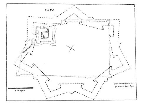 Giulio Turco terve a pápai várhoz 1596-ból