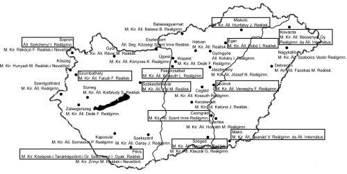 Mika-Marczinkó-féle teljes egyetemes tankönyvsorozatot használó állami (vagy községi) vidéki fiú-középiskolák az 1930-as évek elején