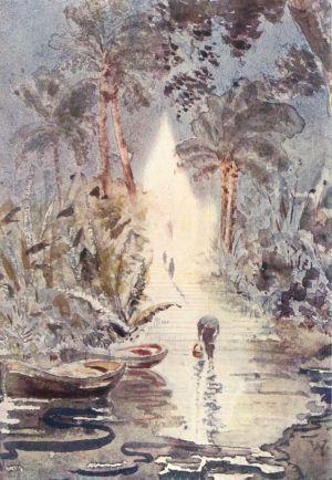 A kambodzsai Ezüst Pagoda holdfényben. Vay Péter akvarellje.
