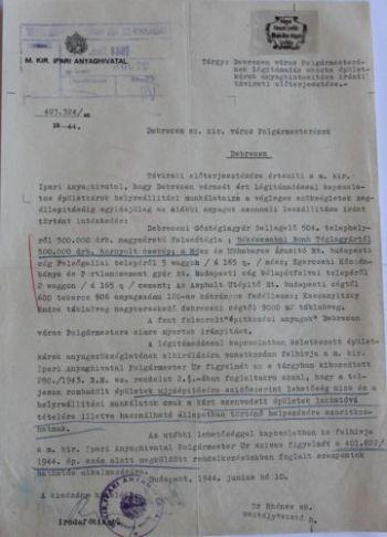 A Magyar Királyi Ipari Anyaghivatal anyagkiutalása az újjáépítéshez