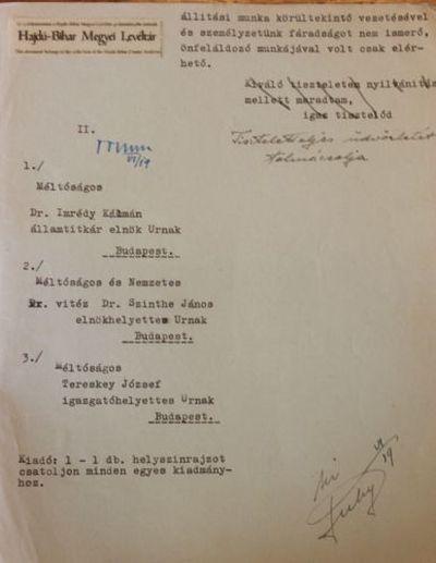 A Magyar Királyi Államvasutak üzletvezetőségének belső levelezése a debreceni vasútállomáson a bombázás után esedékes romeltakarításról III.
