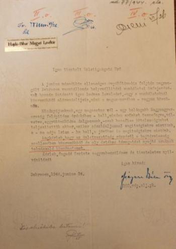 Ficzere Béla őrnagy levele