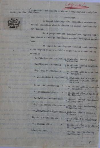 Vásáry István polgármester határozata a közigazgatás újbóli felállításáról I.