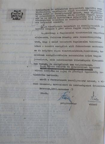 Vásáry István polgármester határozata a közigazgatás újbóli felállításáról IV.