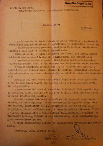 Az 1945. február 13-ai rendőrségi jelentés