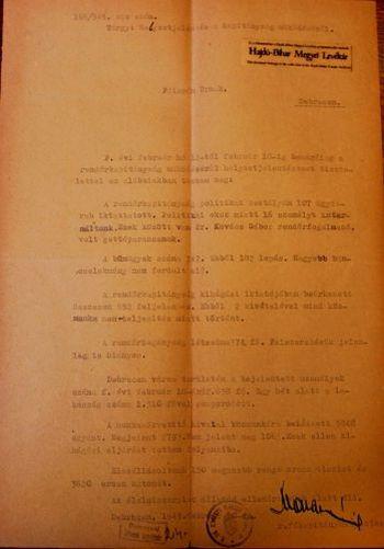 Az 1945. február 20-ai rendőrségi jelentés