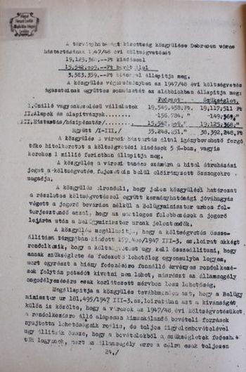 Részlet Debrecen törvényhatósági jogú város 1947/48. évi költségvetéséből