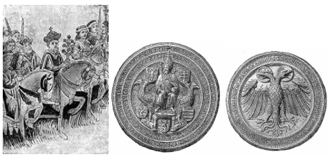 Zsigmond ünnepélyes bevonulása Konstanzba és német-római császári pecsétje