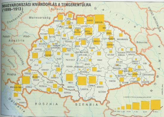 Térkép: magyarországi kivándorlás a tengerentúlra (1899-1913)