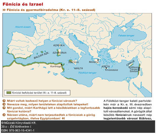Térkép és a hozzá kapcsolódó feladatok a tankönyvből