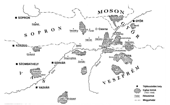 A pápai uradalom térképe