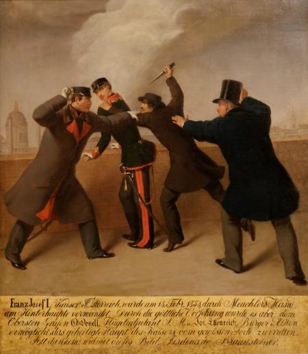 1. kép: Libényi tőrrel támad Ferenc Józsefre (J. J. Reiner festménye)