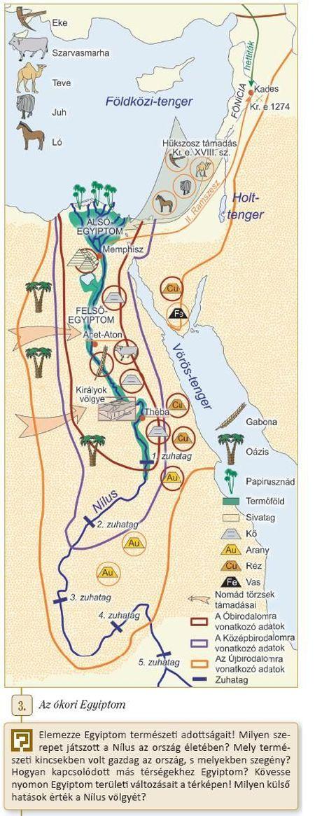 Egyiptom térképe a tankönyvben