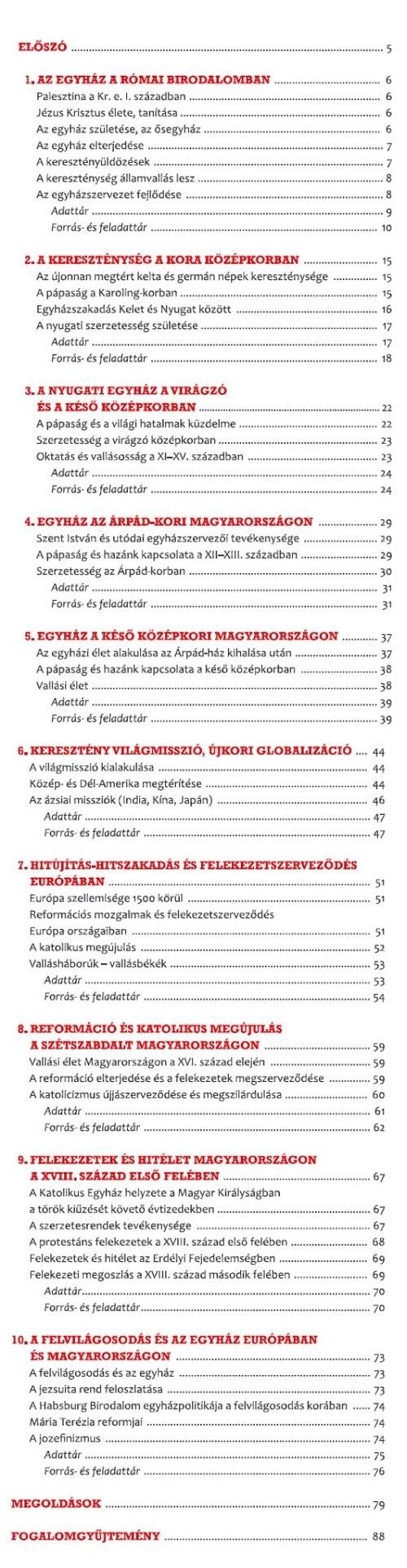A 9–10. évfolyamnak szánt első kötet tartalma