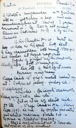 Részlet Vay Péter 1907-es naplójából. Boston