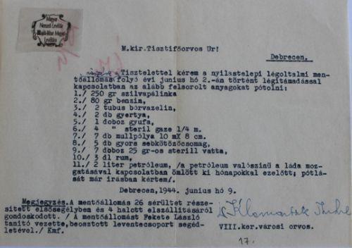 A nyilastelepi mentőállomás gyógy- és kötszerigénylése (1944. június 9.)
