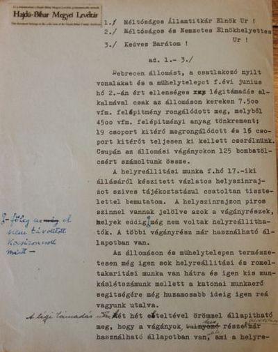 A Magyar Királyi Államvasutak üzletvezetőségének belső levelezése a debreceni vasútállomáson a bombázás után esedékes romeltakarításról II.