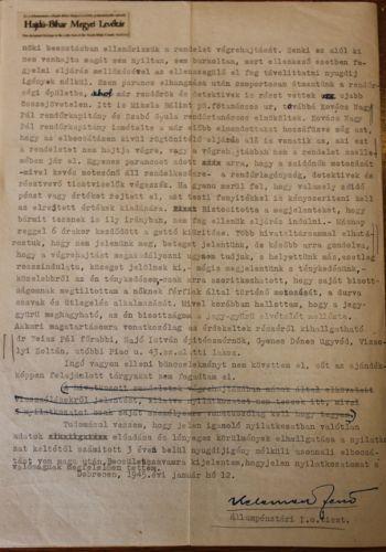 Vallomása a debreceni zsidóvagyonok lefoglalásáról II.