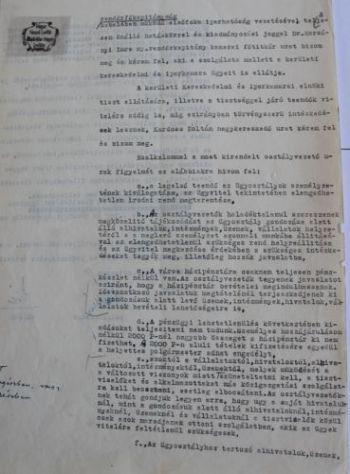 Vásáry István polgármester határozata a közigazgatás újbóli felállításáról III.