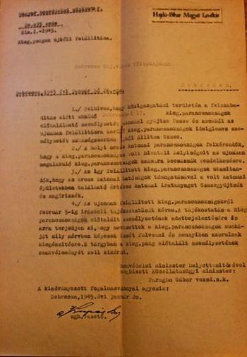 A közellátásügyi miniszter levele Vásáry polgármesterhez a 17. kiegészítő parancsnokság ügyében