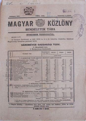 A hároméves terv a Magyar Közlönyben